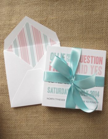 finished save the date cards in aqua and pink