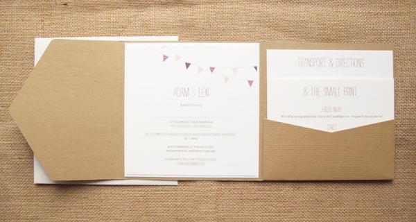 Bunting Wedding Invite: Contemporary Wedding Stationery Boutique