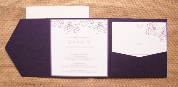 Oak wedding invitation pocket in plum