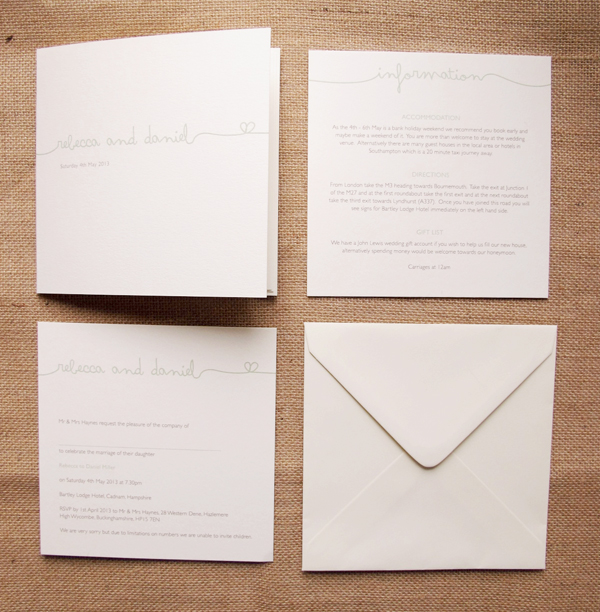 Signature folded card evening invitations and infocards