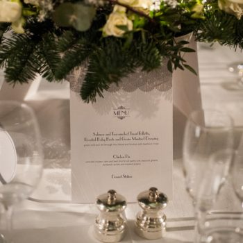 Susan menus with table decorations