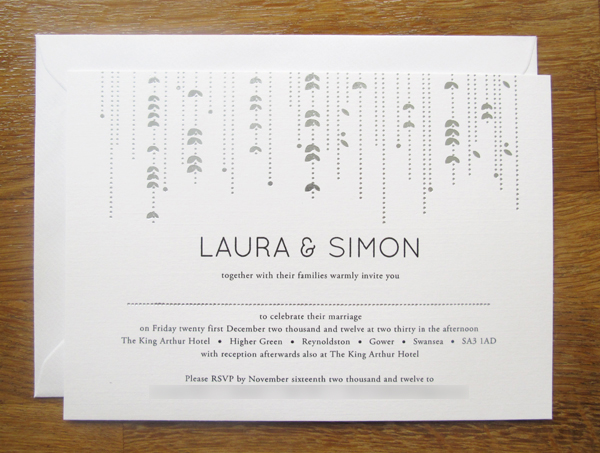 Silver Foiled Garland invitations