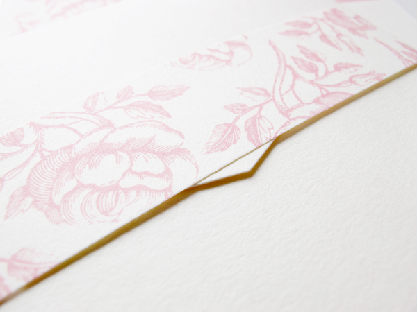 Pink belly bands for invitations