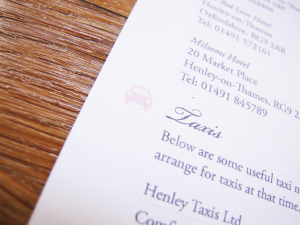 Taxi detail on wedding information card
