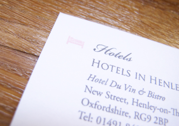 Hotel detail on wedding information card