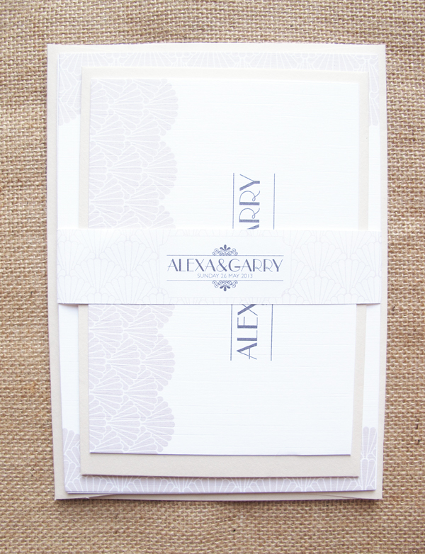 Deco wedding invite set with RSVP and belly band