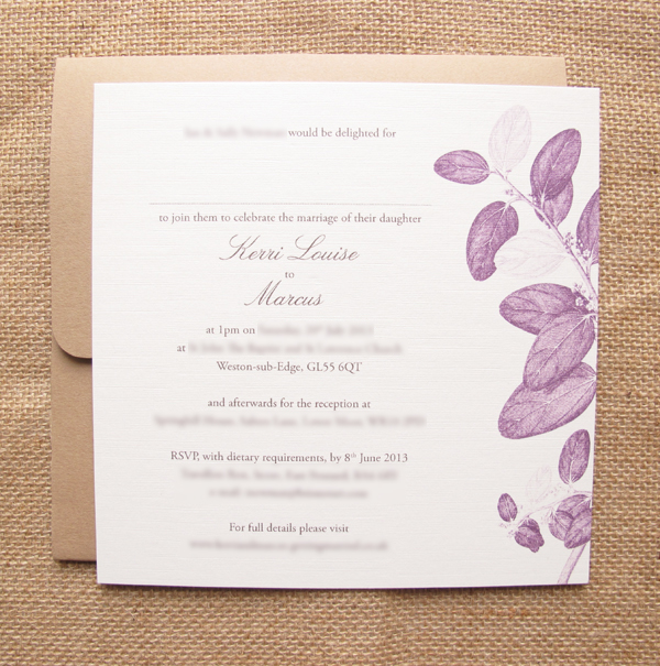 Plum Adeli Wedding invitation