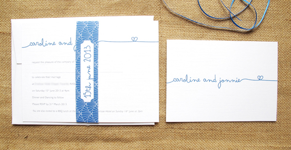 Signature wedding invite in royal with patterned band and RSVP