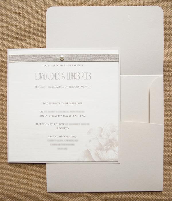 Peonies Ecru weding invitations