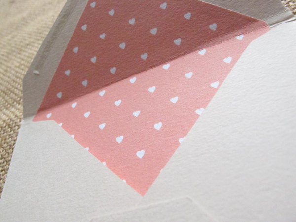Apricot heart envelope liner in Ecru envelope
