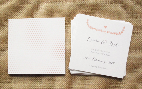 Laurel in apricot save the date cards