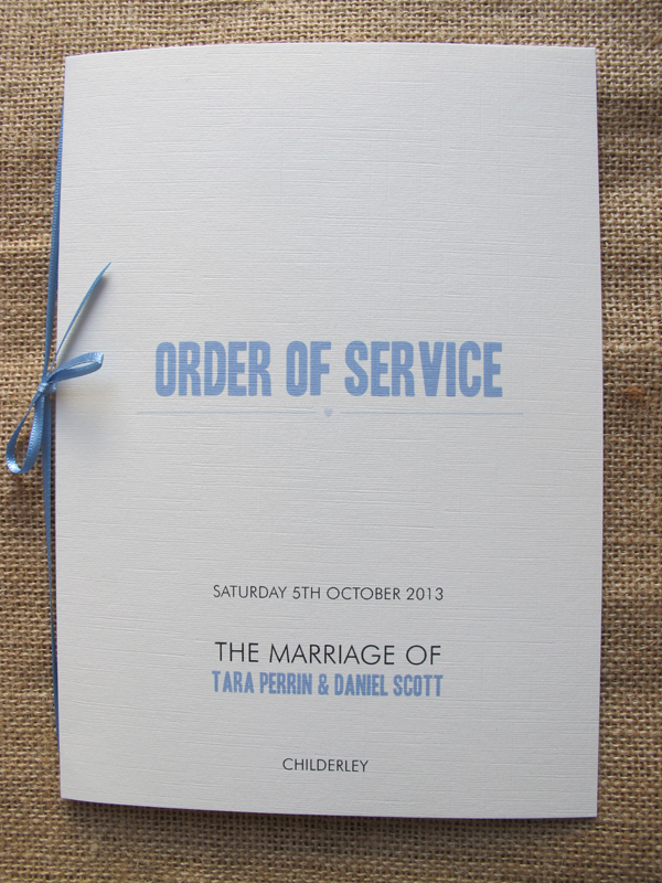 Metro order of service in dusky blue