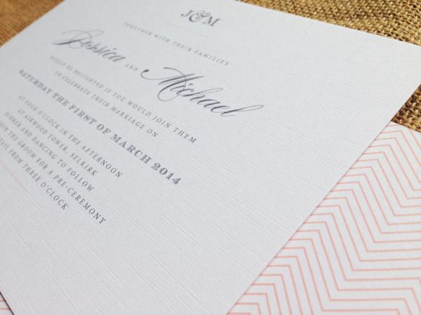 Monogram-invite-with-apricot-chevron-pattern