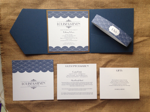 Deco-invitation-set-in-muted-blue-and-gold