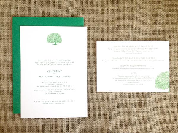 Tree wedding invitation set