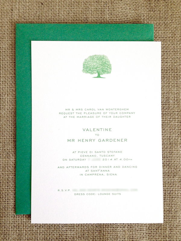 Cypress tree wedding invitations