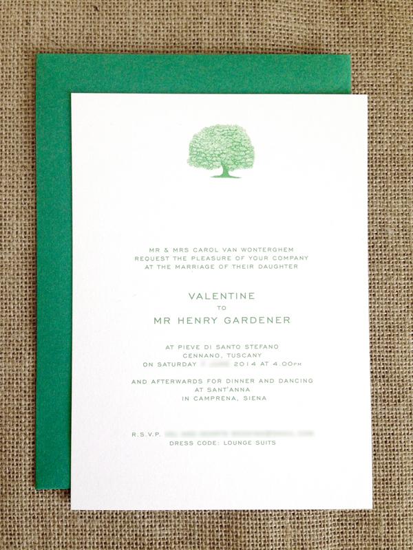 Cypress tree wedding invitations