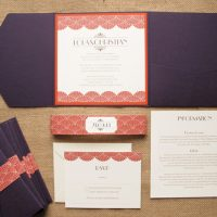 Deco Plum and Rust pocketfold wedding invite set