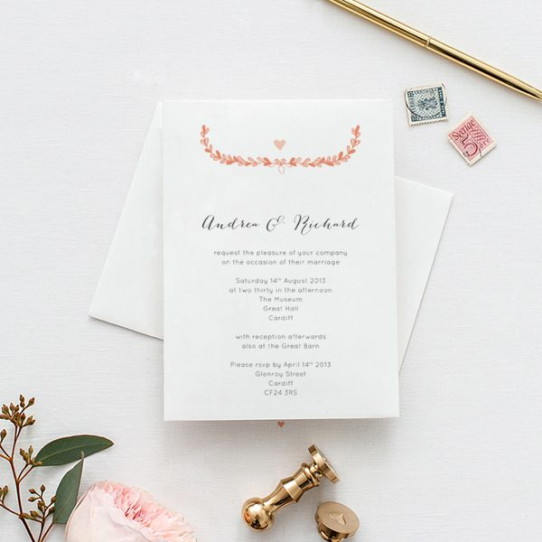 Beautiful personalised wedding invitations and stationery Olive