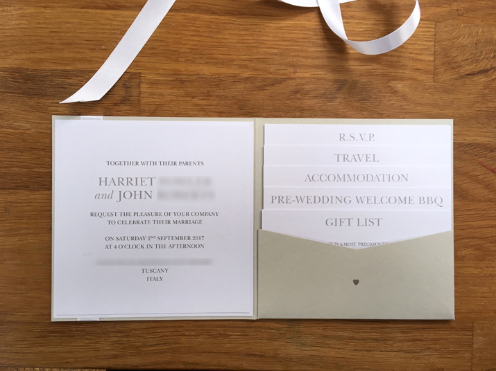 Wedding Gift List Bespoke : Stunning bespoke Tuscan wedding invites