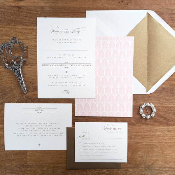 Beautiful personalised wedding invitations and stationery olive gatsby art deco set stopboris Gallery