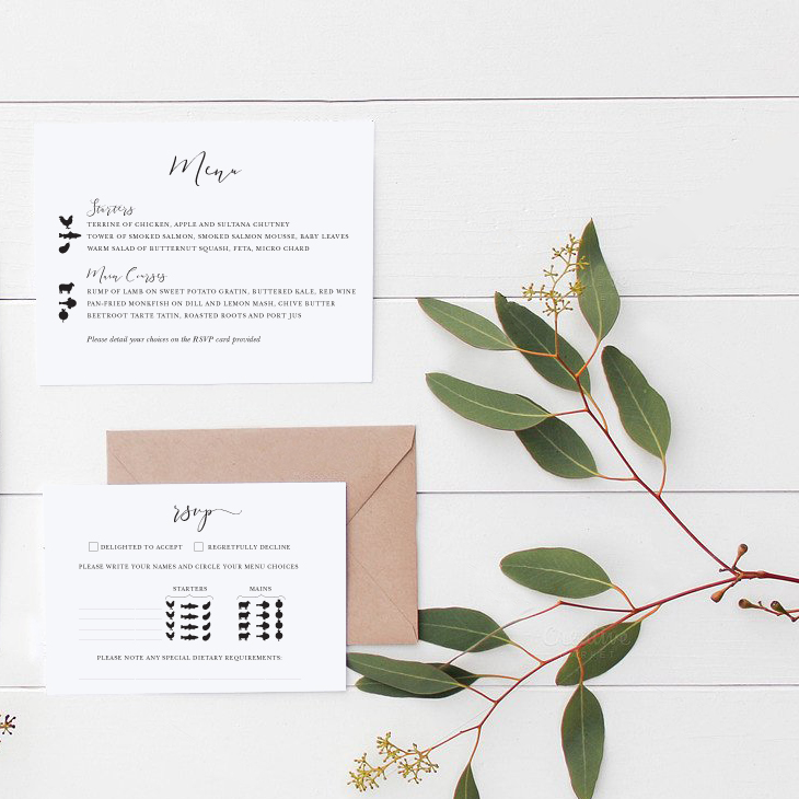 Wedding Menu Choice Cards
