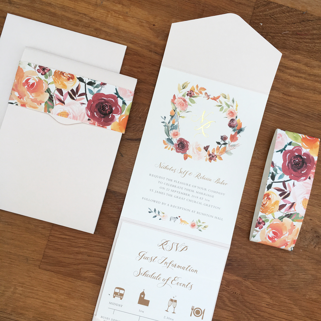 Belly bands for wedding invitations