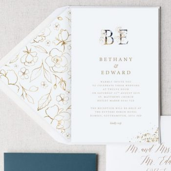 Ornamental Gold Monogram is now on the site! Beauuuutiful golden floral lettering and complimentary envelope liners. See the full set on the website! #elegantwedding #simpleelegantwedding #classywedding #stylishwedding #stylishweddings #monogram #weddinginvites