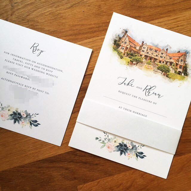 watercolour location illustration wedding invite